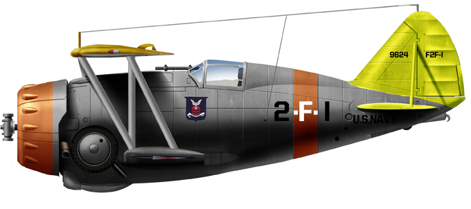 F3F-1 CV-2, USS Lexington, 1937, one of the first units deploying the F3F.