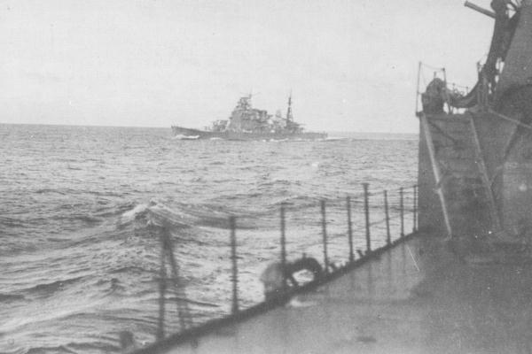 Takao seen from her sister ship, en route to the Solomons islands, 1942