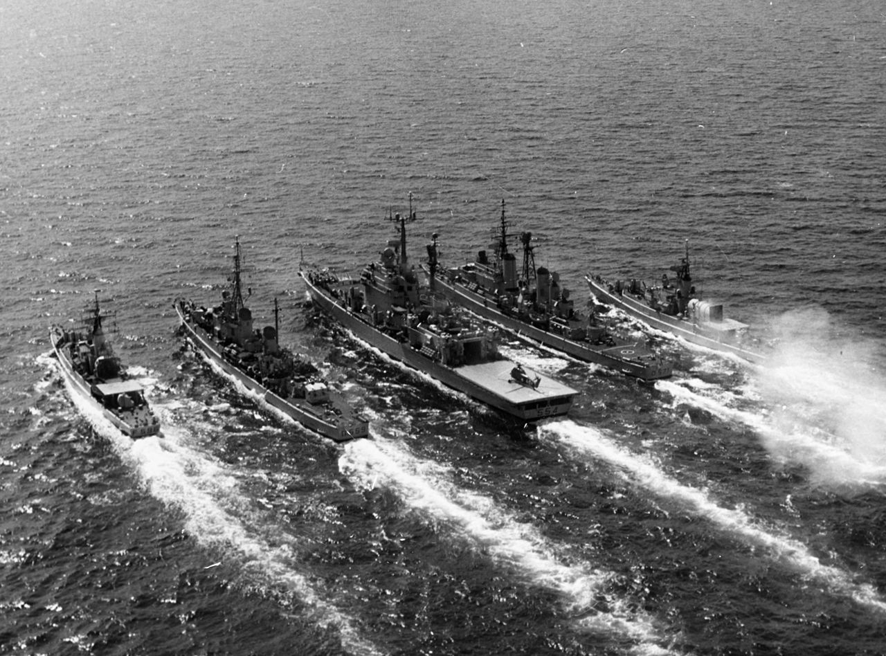 Italian cruiser Caio Duilio underway in the early 1970s with destroyers and frigates