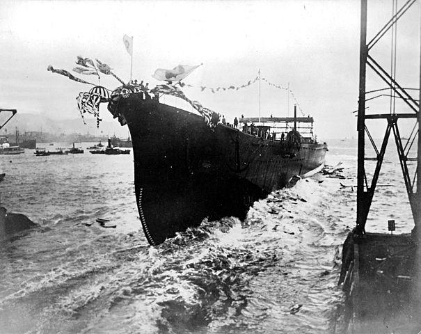 Launch of IJN Maya in 1930
