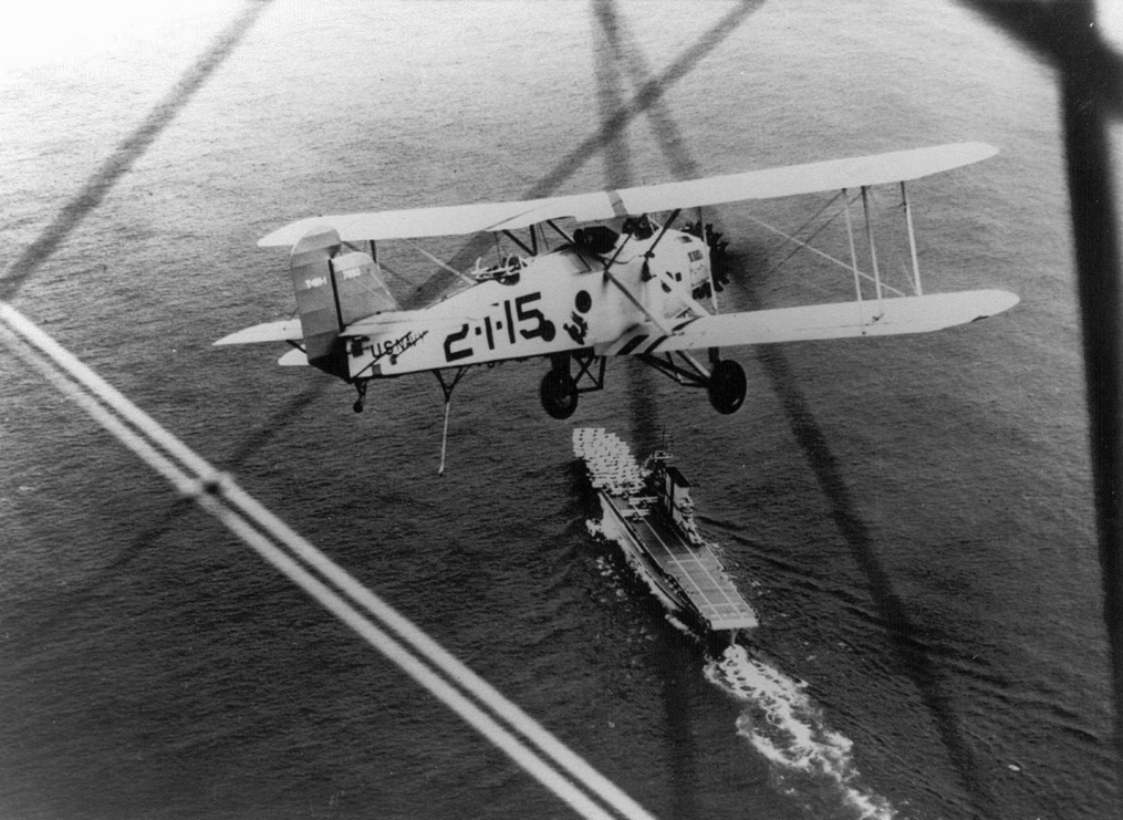 Martin T4M of VT-2B, over USS Saratoga in 1939