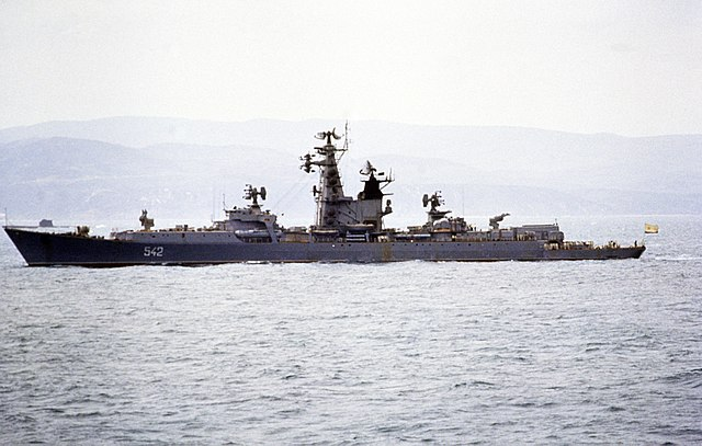 An unidentified Kresta I cruiser off Naples