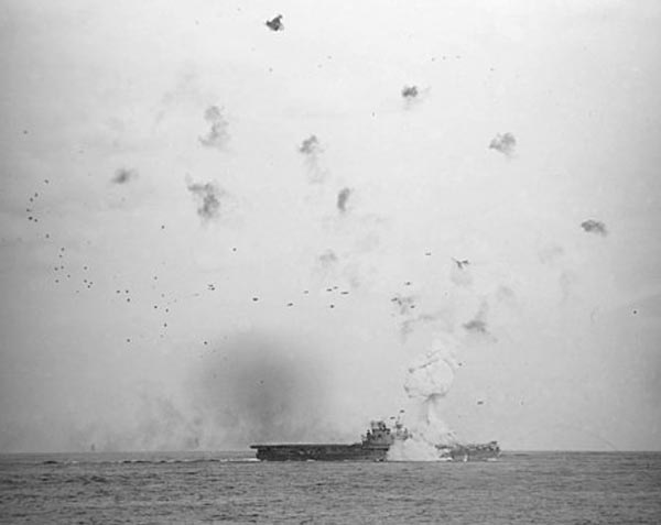 USS Enterprise hit by a Kamikaze in May 1945
