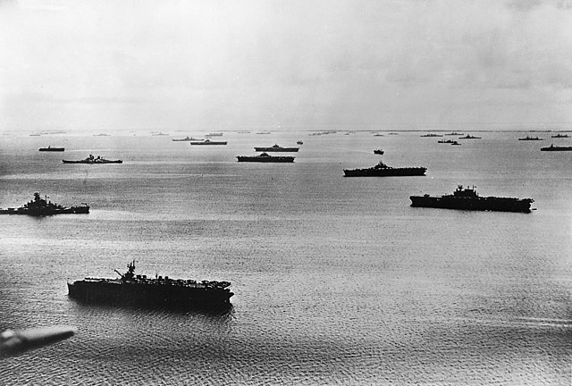 Enterprise on the right with the Fifth Fleet at Majuro, 1944