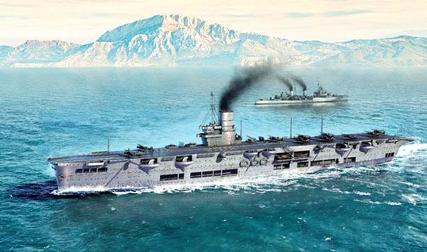 A model kit artwork of the Ark Royal in the Mediterranean