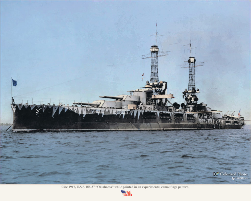 USS Oklahoma as experimentally painted with a disruptive pattern in 1917