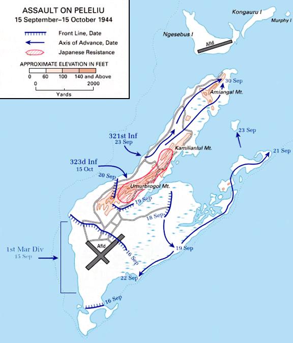 map of peleliu
