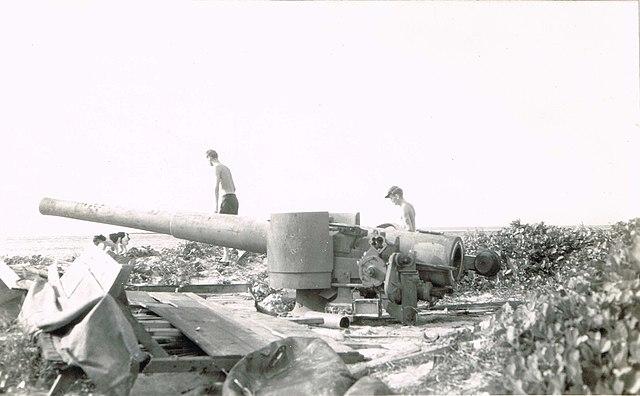 Captured IJA 130 m coastal defense gun