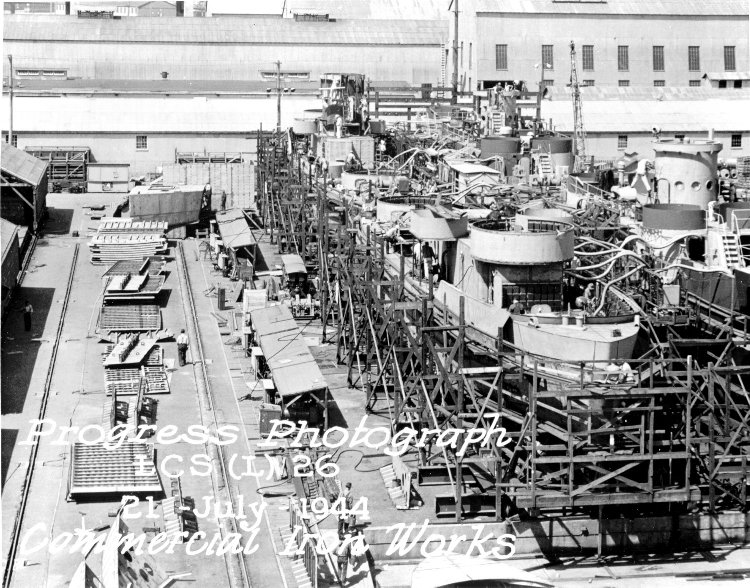 Construction of LCS(L)-26 at Iron Works yard in 1944