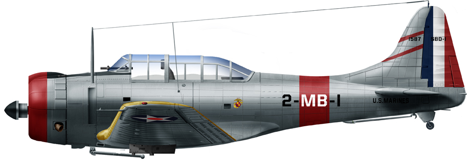 Douglas Dauntless SBD-1 of VMB-2, Marine Air Group 11, 1940