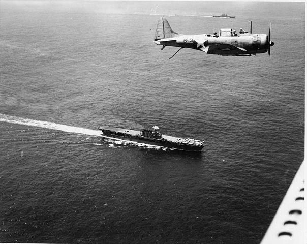 SBD over Saratoga and Enteprise in December 1942