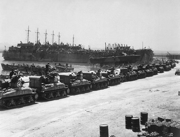 US Forces preparing to embark on LSTs in French Tunisia before departing, in 1943