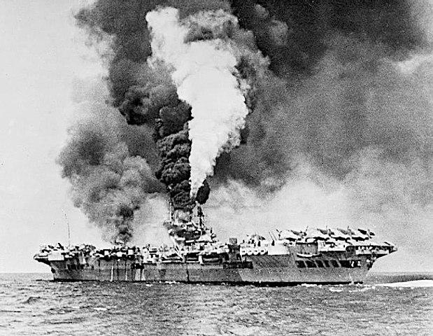 HMS Formidable hit by a Kamikaze