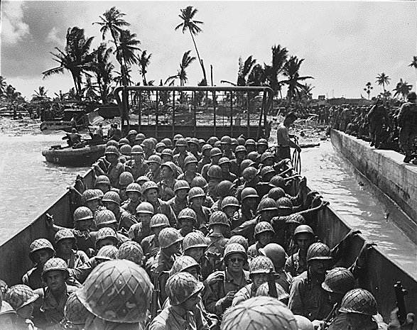 Marines in an LCVP approaching the beach of Kawajalein, ocean shore