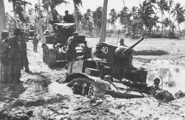 M3_Stuart_Light_Tank_bogged_down_on_Makin_Island