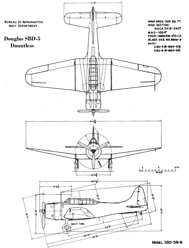 SBD-5_BuAer_3_view_drawing
