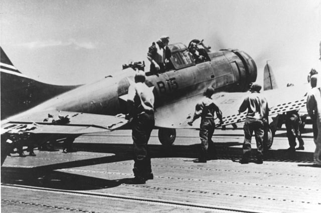 SBD back from bombing the Kaga