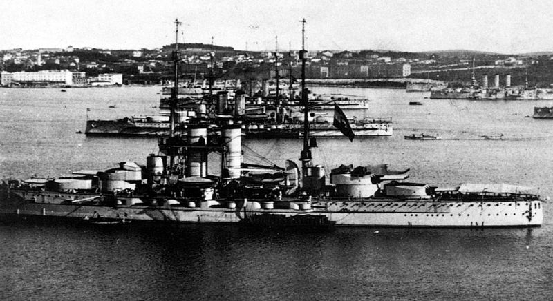 Austro-Hungarian Dreadnoughts and the fleet anchored at Pola