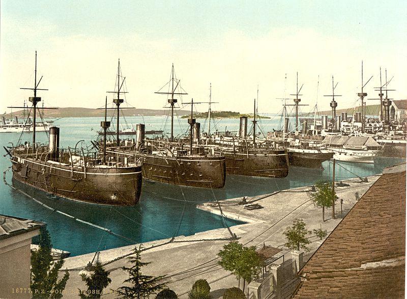 The Austro-Hungarian Navy in Pola Harbour, circa 1890