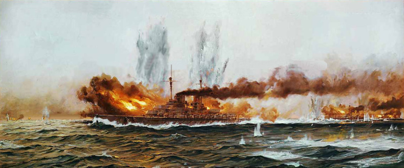Painting of the Lützow and Derfflinger at Jutland, May, 31, 1916