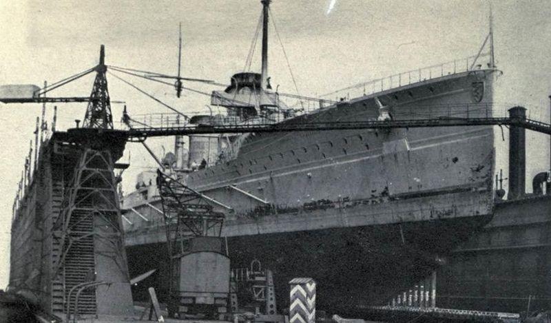 SMS Seydlitz in drydock