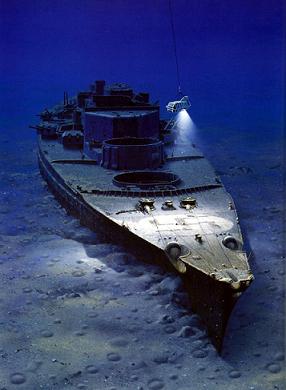 Painting by Ken Marschall depicting Argo exploring the wreck